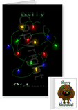 Chocolate Lab Merry Christmas Lights Greeting Cards