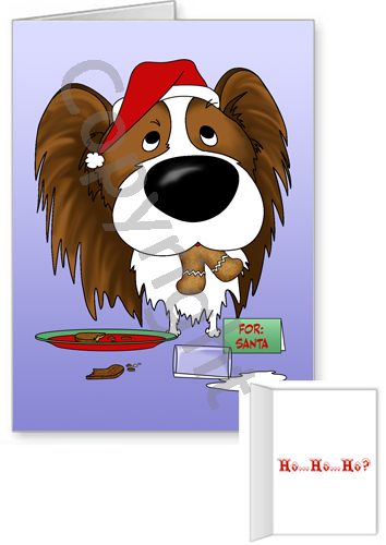 Liver Papillon Santa's Cookies Greeting Cards