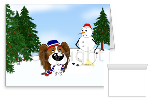 Papillon Winter Scene Greeting Cards