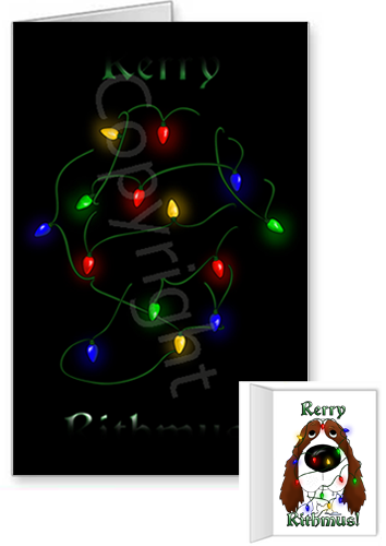 English Springer Spaniel Merry Christmas Lights Greeting Cards
