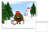 Chocolate Lab Winter Snowman Greeting Cards
