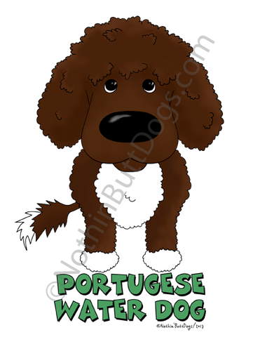 Big Nose Portuguese Water Dog (Curly) Dark Colored T-shirts