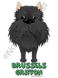 Big Nose Cropped Brussels Griffon Dark Colored T-shirts