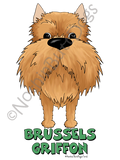 Big Nose Cropped Brussels Griffon Light Colored T-shirts