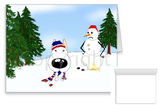 Bull Terrier Winter Snowman Greeting Cards