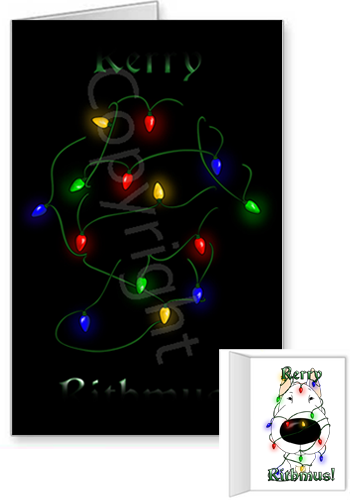 Bull Terrier Merry Christmas Lights Greeting Cards