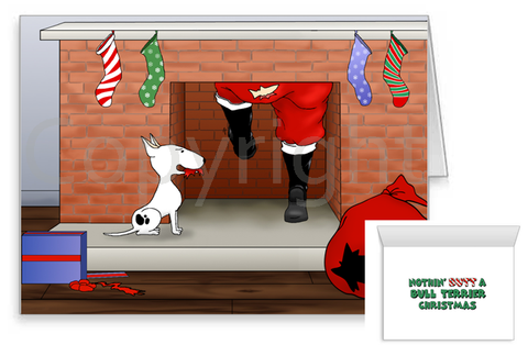Bull Terrier Santa Butt Greeting Cards