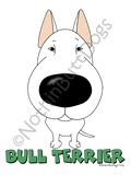 Big Nose Bull Terrier Light Colored T-shirts