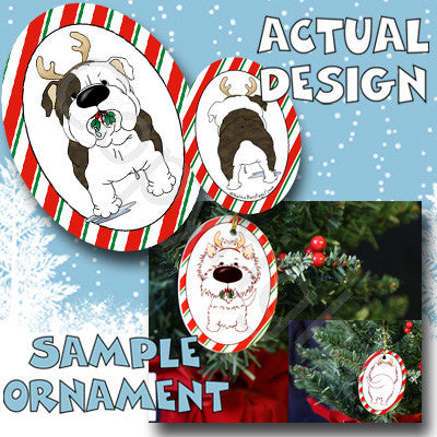 brindle bulldog christmas anlter ornament