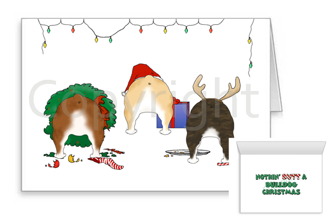 Nothin' Butt A Bulldog Christmas Greeting Cards