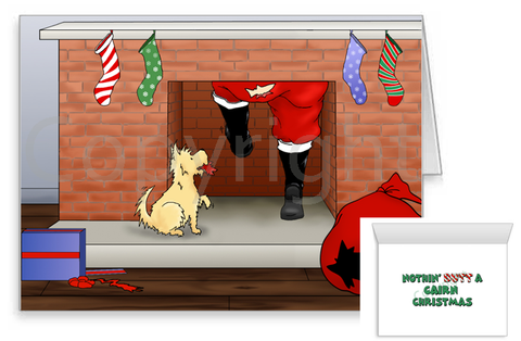 Cairn Terrier Santa Butt Greeting Cards