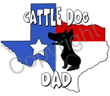 Texas Dad Mug Blue Rim & Handle - (10+ Dog Breeds Available)
