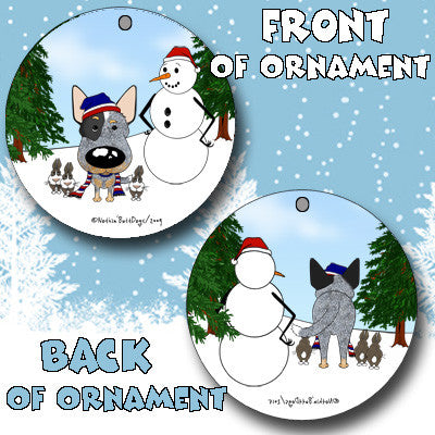 cattle dog snowman ornament