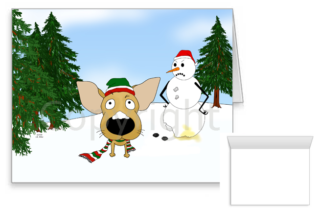Chihuahua Winter Snowman Greeting Cards