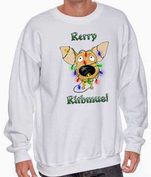Chihuahua christmas lights sweatshirt
