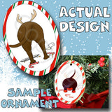 Chocolate Lab Antler Christmas Ornament