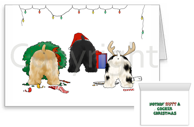 Nothin' Butt A Cocker Spaniel Christmas Greeting Cards
