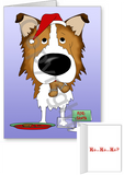 Sable Rough Collie Santa's Cookies Greeting Cards