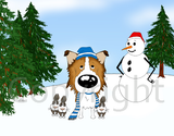 Rough Collie Winter Scene Greeting Cards