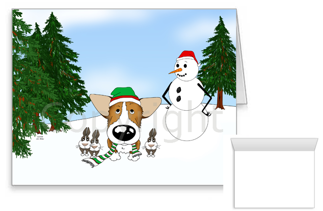Pembroke Welsh Corgi Winter Snowman Greeting Cards