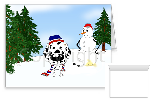 Dalmatian Winter Snowman Greeting Cards