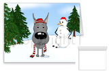 Blue Great Dane Winter Snowman Greeting Cards