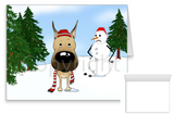 Fawn Great Dane Winter Snowman Greeting Cards