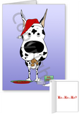 Harlequin Great Dane Santa's Cookies Greeting Cards