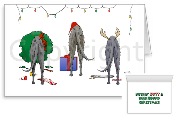 Nothin' Butt A Scottish Deerhound Christmas Greeting Cards