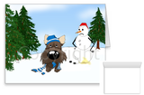 Cairn Terrier Winter Snowman Greeting Cards