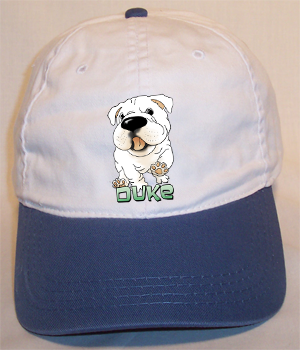 Custom Duke Cotton Cap - White w/Blue Bill