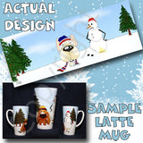 French Bulldog snowman christmas latte mug