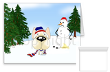 French Bulldog Winter Snowman Greeting Cards