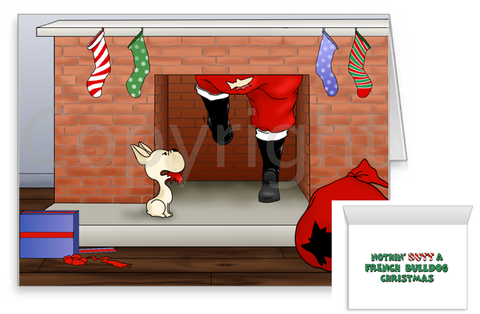 French Bulldog Santa Butt Greeting Cards