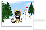 German Shepherd Winter Snowman Greeting Cards