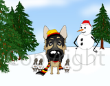 German Shepherd Winter Scene Greeting Cards