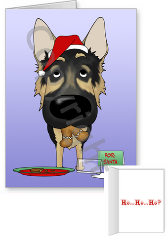 German Shepherd Santa's Cookies Greeting Cards