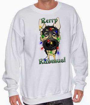 german shepherd christmas lights sweatshirt