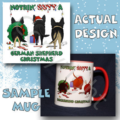 German Shepherd butt christmas coffee mug