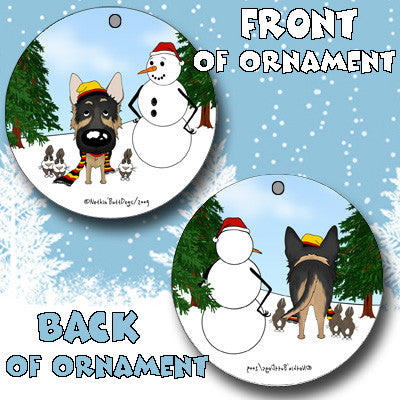 German Shepherd Snowman Christmas Ornament