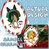 German Shepherd Butt Christmas Ornament