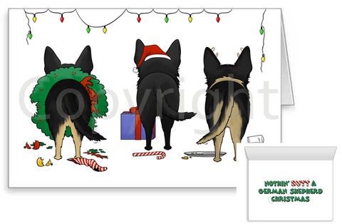 Nothin' Butt A German Shepherd Christmas Greeting Cards
