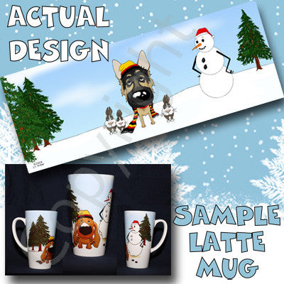 German Shepherd Snowman 17oz Latte Mug