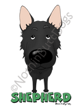 Big Nose German Shepherd Dark Colored T-shirts