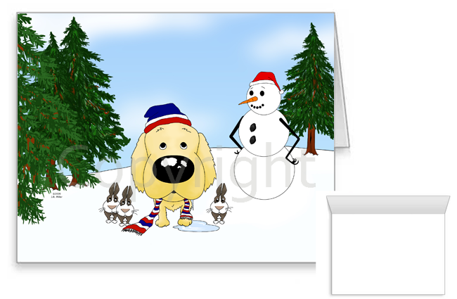 Golden Retriever Winter Snowman Greeting Cards