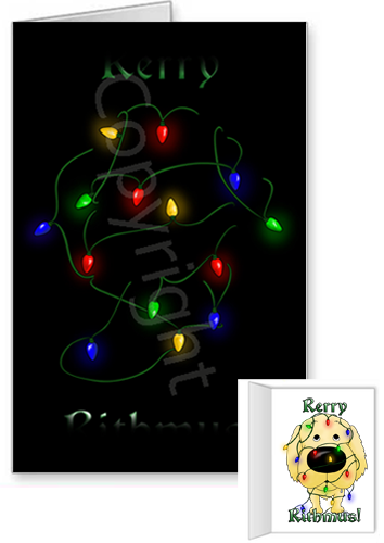 Golden Retriever Merry Christmas Lights Greeting Cards