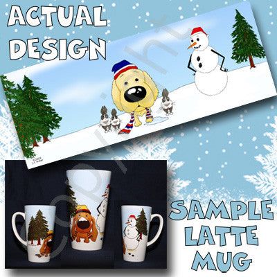 Golden Retriever Snowman 17oz Latte Mug