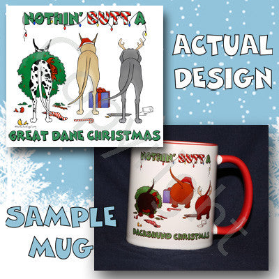 Great Dane butt christmas coffee mug