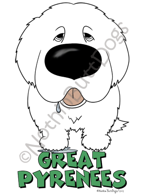 Big Nose Great Pyrenees Light Colored T-shirts
