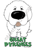 Big Nose Great Pyrenees Dark Colored T-shirts
